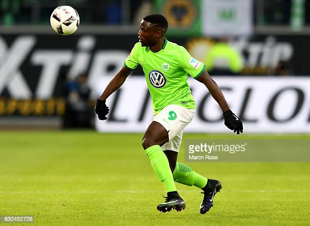 Paul Georges Ntep of Wolfsburg runs with the ball during the Bundesliga match between VfL Wolfsburg and Hamburger SV at Volkswagen Arena on January...