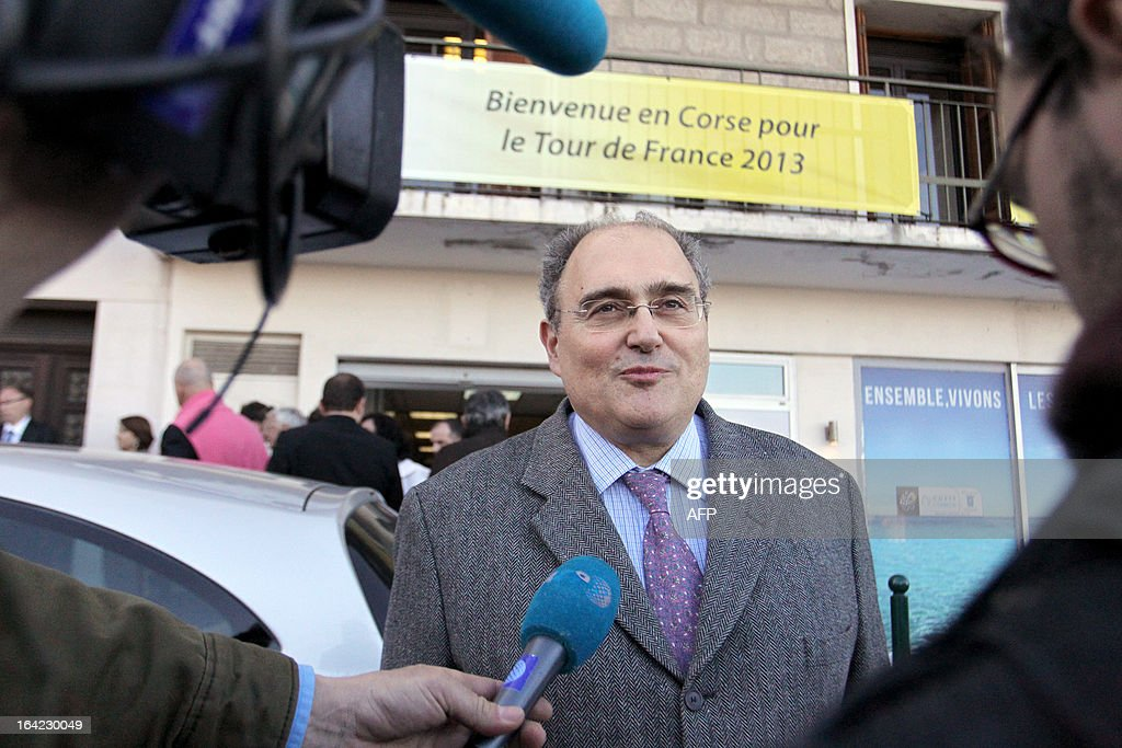 Paul Giacobbi,Corsica executive council president, answers AFP journalists on March 21, 2013 for the hundred days before the start of the Tour de France cycling race which will start in Porto Vecchio, Corsica. AFP PHOTO / PASCAL POCHARD-CASABIANCA
