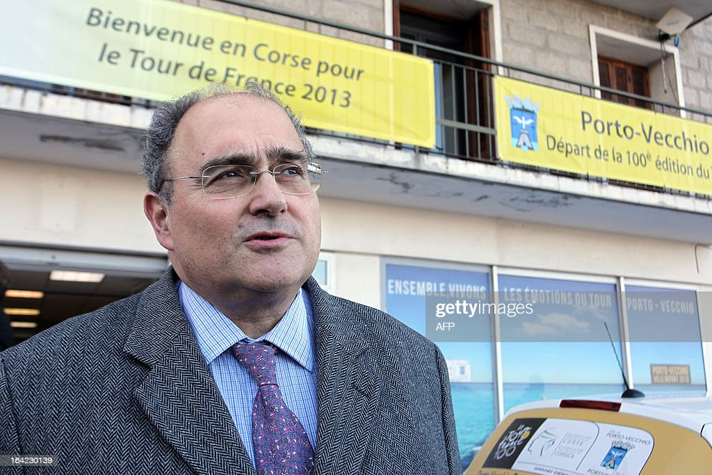 Paul Giacobbi,Corsica executive council president, answers AFP journalists on March 21, 2013 for the hundred days before the start of the Tour de France cycling race which will start in Porto Vecchio, Corsica.