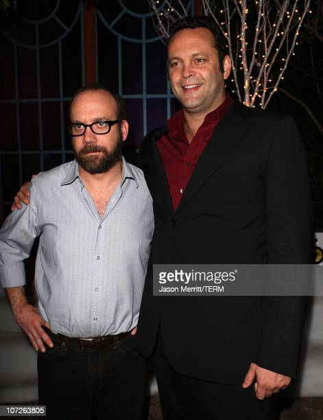 Paul Giamatti and Vince Vaughn at the premiere after party for Warner Bros' 'Fred Claus' at The Lot on November 3 2007 in Los Angeles California