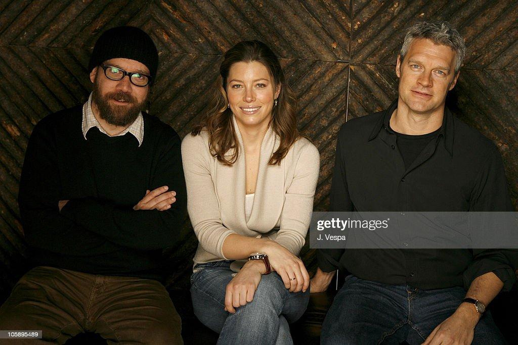 Paul Giamatti Jessica Biel and Neil Burger during 2006 Sundance Film Festival 'The Illusionist' Portraits at HP Portrait Studio in Park City Utah...