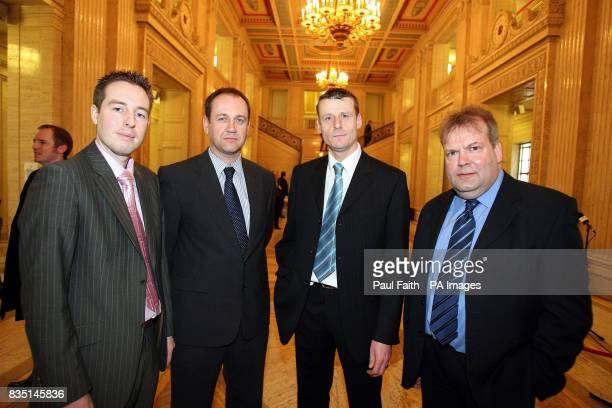 Paul Girvan Federation of small business with business owners Mark Templeton Mark Winter and John McGaughey inside the Senate chamber at Stormont...