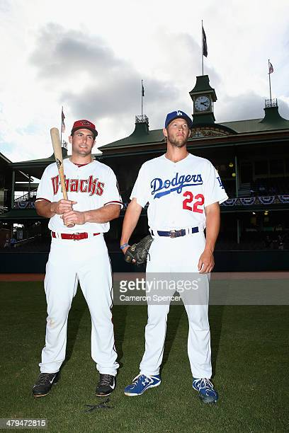 Paul Goldschmidt of the Arizona Diamondbacks and Clayton Kershaw of the Los Angeles Dodgers pose during the Day of Champions at Sydney Cricket Ground...