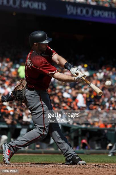 Paul Goldschmidt of the Arizona Diamondbacks at bat against the San Francisco Giants during the third inning at ATT Park on September 17 2017 in San...