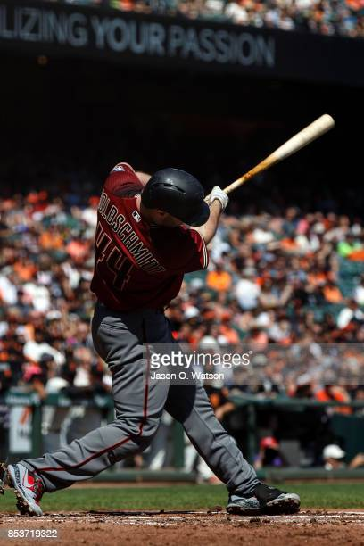 Paul Goldschmidt of the Arizona Diamondbacks at bat against the San Francisco Giants during the second inning at ATT Park on September 17 2017 in San...
