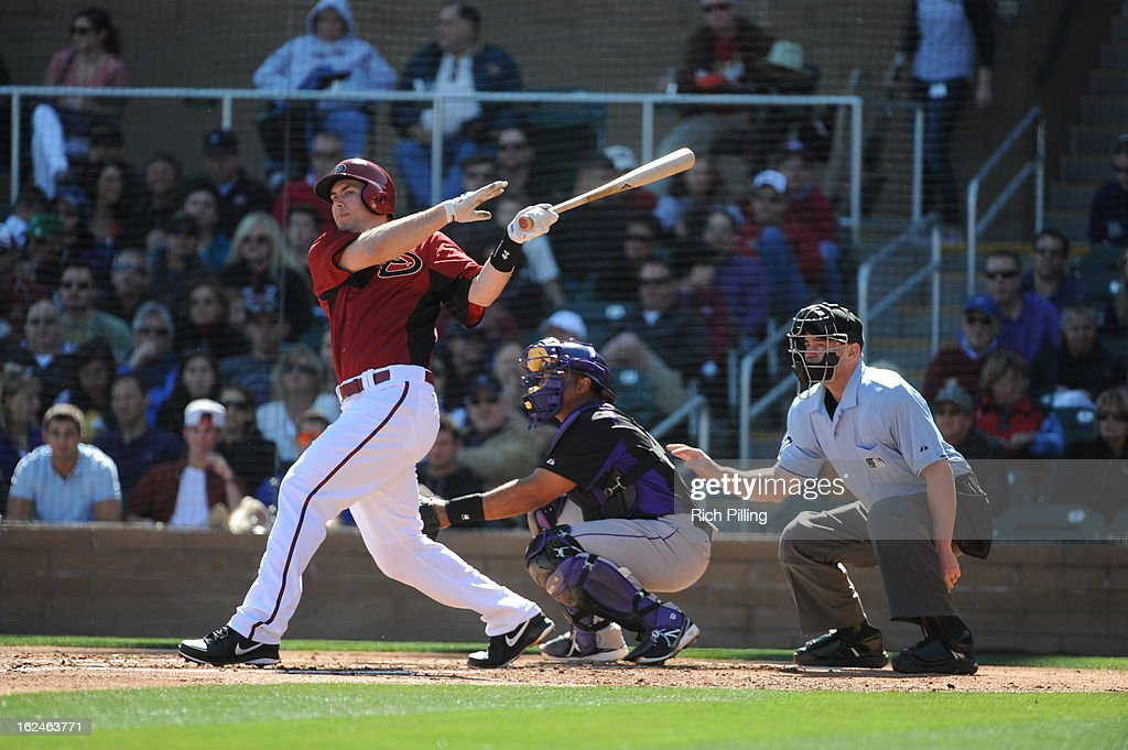 <a gi-track='captionPersonalityLinkClicked' href=/galleries/search?phrase=Paul+Goldschmidt&family=editorial&specificpeople=7511120 ng-click='$event.stopPropagation()'>Paul Goldschmidt</a> #44 of the Arizona Diamondbacks bats during the game against the Colorado Rockies on February 23, 2013 at the Salt River Fields at Talking Stick in Scottsdale, Arizona. The Rockies defeated the Diamondbacks 11-2.