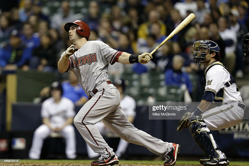 Paul Goldschmidt #44 of the Arizona Diamondbacks doubles off this pitch in the top of the fourth inning against the Milwaukee Brewers at Miller Park on April 6, 2013 in Milwaukee, Wisconsin.