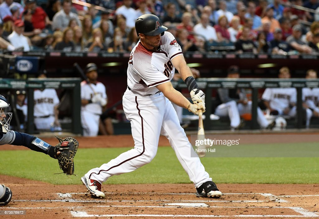 Paul Goldschmidt #44 of the Arizona Diamondbacks drives in a run with a single during the first inning against the San Diego Padres at Chase Field on April 26, 2017 in Phoenix, Arizona.
