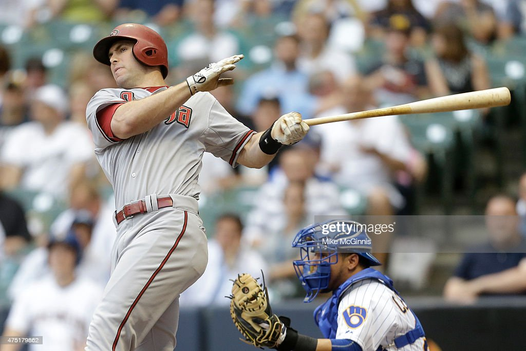 Paul Goldschmidt of the Arizona Diamondbacks hits a double in the first inning against the Milwaukee Brewers at Miller Park on May 29 2015 in...
