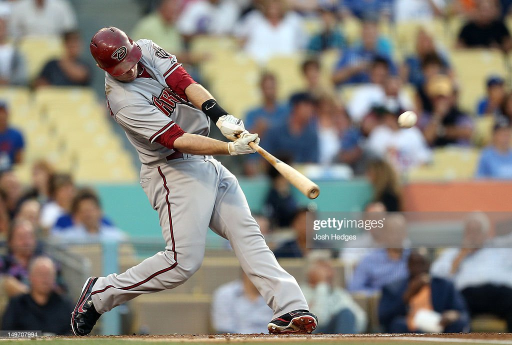 Paul Goldschmidt of the Arizona Diamondbacks hits a home run off Chris Capuano of the Los Angeles Dodgers during the first inning at Dodger Stadium...