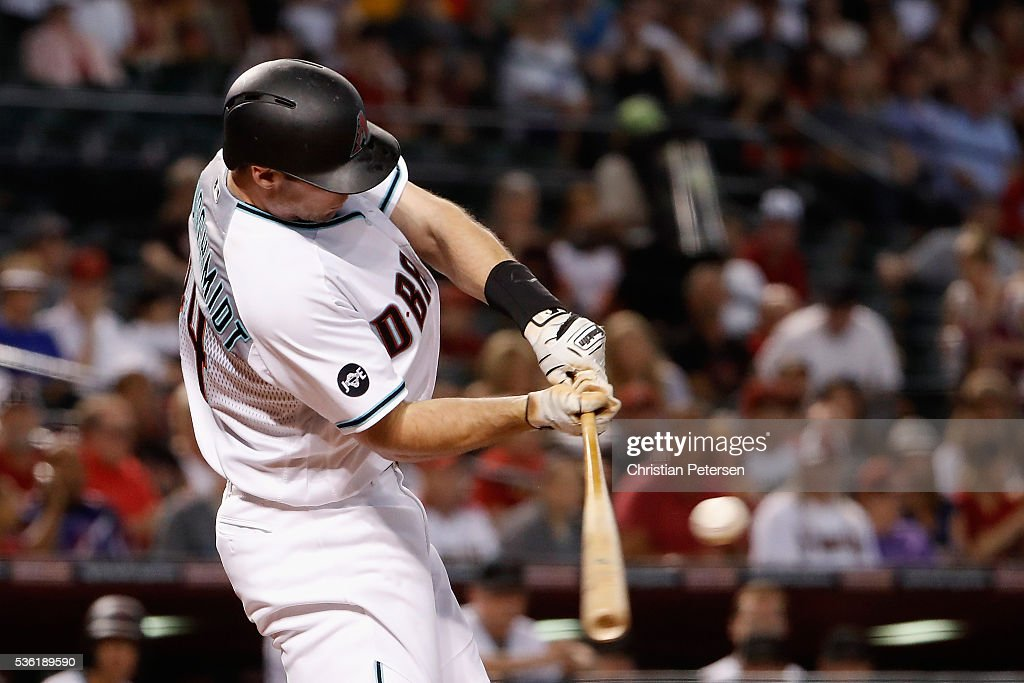 <a gi-track='captionPersonalityLinkClicked' href=/galleries/search?phrase=Paul+Goldschmidt&family=editorial&specificpeople=7511120 ng-click='$event.stopPropagation()'>Paul Goldschmidt</a> #44 of the Arizona Diamondbacks hits a single against the Houston Astros during the first inning of the MLB game at Chase Field on May 31, 2016 in Phoenix, Arizona.