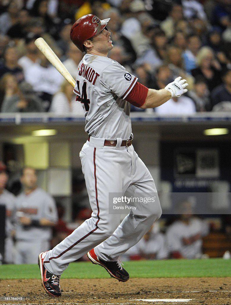 <a gi-track='captionPersonalityLinkClicked' href=/galleries/search?phrase=Paul+Goldschmidt&family=editorial&specificpeople=7511120 ng-click='$event.stopPropagation()'>Paul Goldschmidt</a> #44 of the Arizona Diamondbacks hits a solo home run during the sixth inning of a baseball game against the San Diego Padres at Petco Park on September 24, 2013 in San Diego, California.