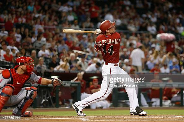 Paul Goldschmidt of the Arizona Diamondbacks hits a solo home run against the Los Angeles Angels during the first inning of the MLB game at Chase...
