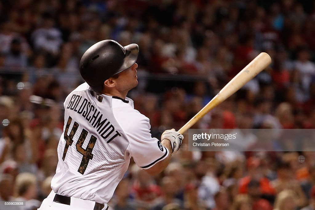 Paul Goldschmidt #44 of the Arizona Diamondbacks hits a solo home run against the Houston Astros during the first inning of the MLB game at Chase Field on May 30, 2016 in Phoenix, Arizona.