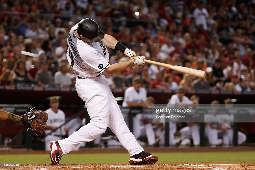 <a gi-track='captionPersonalityLinkClicked' href=/galleries/search?phrase=Paul+Goldschmidt&family=editorial&specificpeople=7511120 ng-click='$event.stopPropagation()'>Paul Goldschmidt</a> #44 of the Arizona Diamondbacks hits a solo home run against the Houston Astros during the first inning of the MLB game at Chase Field on May 30, 2016 in Phoenix, Arizona.