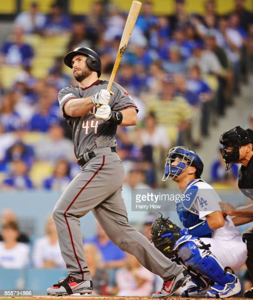 Paul Goldschmidt of the Arizona Diamondbacks hits a two run home run during the first inning against the Los Angeles Dodgers in game two of the...