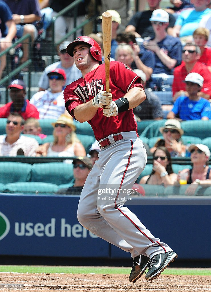 Paul Goldschmidt of the Arizona Diamondbacks hits a tworun home run in the third inning against the Atlanta Braves at Turner Field on July 6 2014 in...