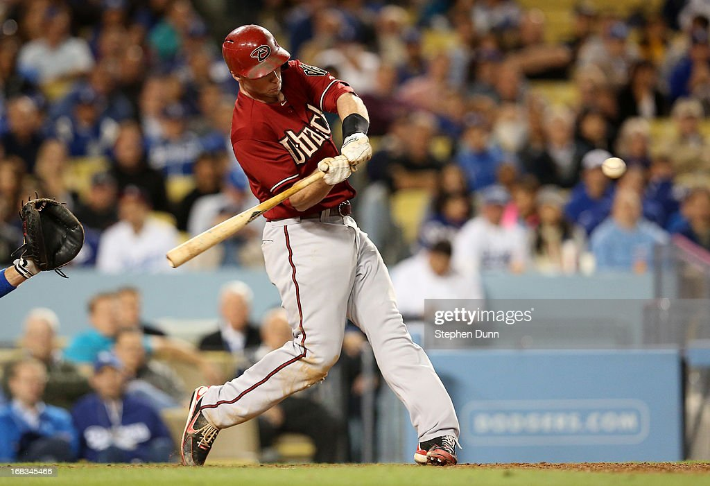 Paul Goldschmidt #44 of the Arizona Diamondbacks hits his second home run of the game against the Los Angeles Dodgersto give the Diamodnbacks a one run lead in the eighth inning at Dodger Stadium on May 8, 2013 in Los Angeles, California.