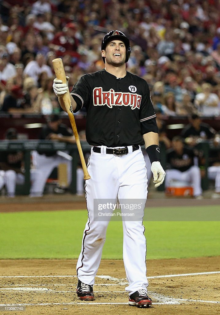 <a gi-track='captionPersonalityLinkClicked' href=/galleries/search?phrase=Paul+Goldschmidt&family=editorial&specificpeople=7511120 ng-click='$event.stopPropagation()'>Paul Goldschmidt</a> #44 of the Arizona Diamondbacks reacts as he bats against the Colorado Rockies during the MLB game at Chase Field on July 5, 2013 in Phoenix, Arizona. The Diamondbacks defeated the Rockies 5-0.