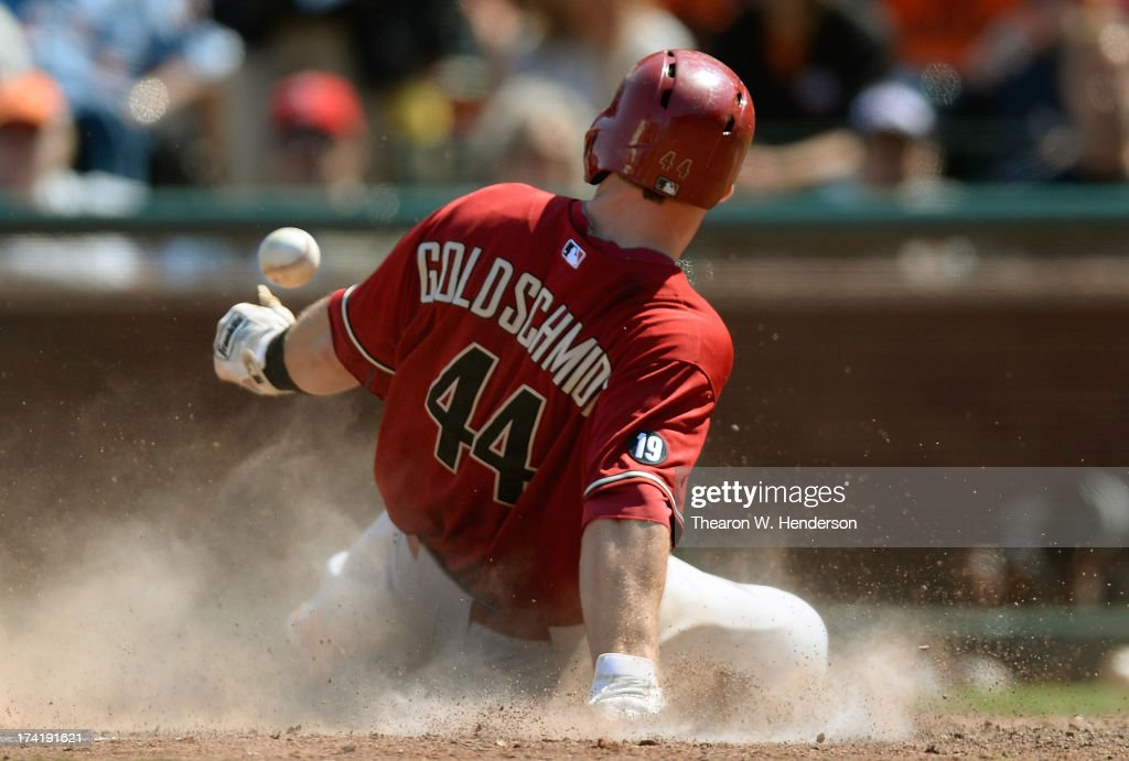<a gi-track='captionPersonalityLinkClicked' href=/galleries/search?phrase=Paul+Goldschmidt&family=editorial&specificpeople=7511120 ng-click='$event.stopPropagation()'>Paul Goldschmidt</a> #44 of the Arizona Diamondbacks scores on a Cody Ross #7 single in the eighth inning against the San Francisco Giants at AT&T Park on July 21, 2013 in San Francisco, California.