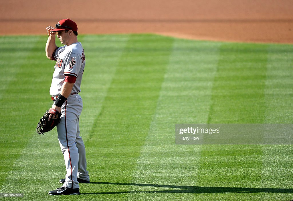 <a gi-track='captionPersonalityLinkClicked' href=/galleries/search?phrase=Paul+Goldschmidt&family=editorial&specificpeople=7511120 ng-click='$event.stopPropagation()'>Paul Goldschmidt</a> #44 of the Arizona Diamondbacks sets at first base against the Los Angeles Dodgers at Dodger Stadium on April 19, 2014 in Los Angeles, California.