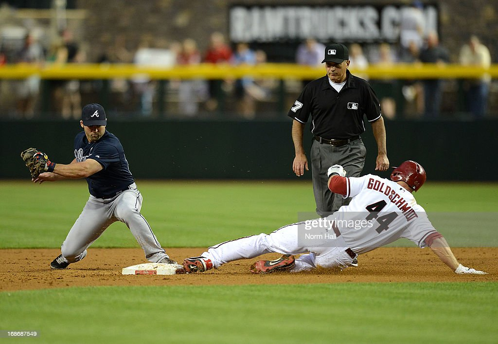 <a gi-track='captionPersonalityLinkClicked' href=/galleries/search?phrase=Paul+Goldschmidt&family=editorial&specificpeople=7511120 ng-click='$event.stopPropagation()'>Paul Goldschmidt</a> #44 of the Arizona Diamondbacks slides safely into second base ahead of the tag by <a gi-track='captionPersonalityLinkClicked' href=/galleries/search?phrase=Dan+Uggla&family=editorial&specificpeople=542208 ng-click='$event.stopPropagation()'>Dan Uggla</a> #26 of the Atlanta Braves at Chase Field on May 13, 2013 in Phoenix, Arizona.
