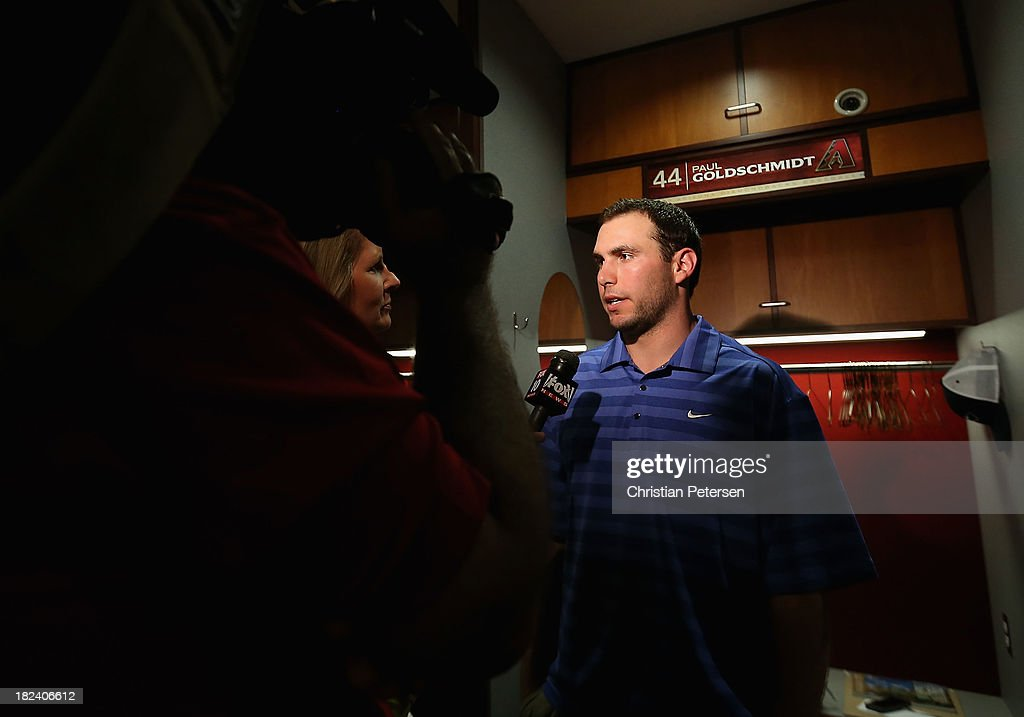 <a gi-track='captionPersonalityLinkClicked' href=/galleries/search?phrase=Paul+Goldschmidt&family=editorial&specificpeople=7511120 ng-click='$event.stopPropagation()'>Paul Goldschmidt</a> #44 of the Arizona Diamondbacks speaks with the media following the MLB game against the Washington Nationals at Chase Field on September 29, 2013 in Phoenix, Arizona. The Diamondbacks defeated the Nationals 3-2.