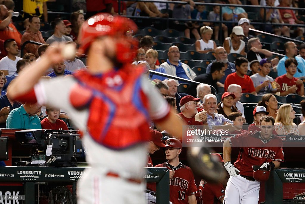 <a gi-track='captionPersonalityLinkClicked' href=/galleries/search?phrase=Paul+Goldschmidt&family=editorial&specificpeople=7511120 ng-click='$event.stopPropagation()'>Paul Goldschmidt</a> #44 of the Arizona Diamondbacks stands in the dugout as he waits the results of a coaches challenge during the first inning of the MLB game against the Philadelphia Phillies at Chase Field on June 29, 2016 in Phoenix, Arizona.