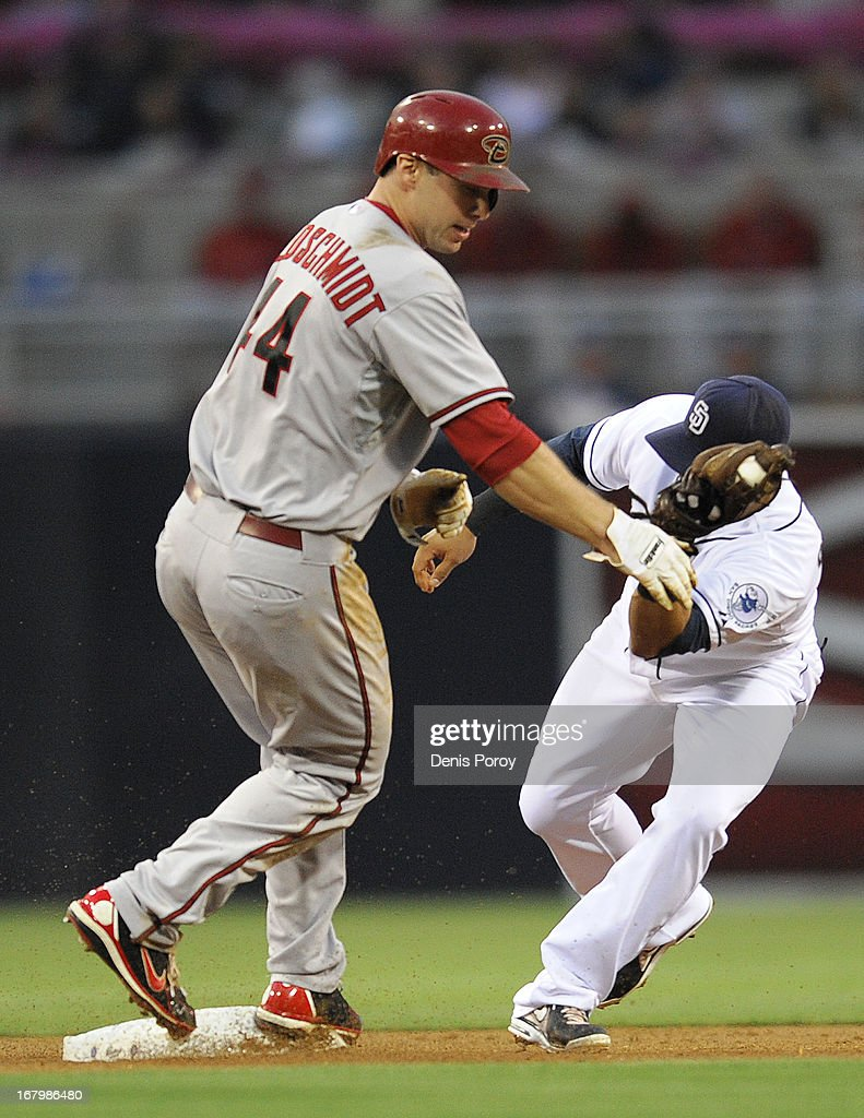 <a gi-track='captionPersonalityLinkClicked' href=/galleries/search?phrase=Paul+Goldschmidt&family=editorial&specificpeople=7511120 ng-click='$event.stopPropagation()'>Paul Goldschmidt</a> #44 of the Arizona Diamondbacks steals second base ahead of the tag of <a gi-track='captionPersonalityLinkClicked' href=/galleries/search?phrase=Everth+Cabrera&family=editorial&specificpeople=5743470 ng-click='$event.stopPropagation()'>Everth Cabrera</a> #2 of the San Diego Padres during the first inning of a baseball game at Petco Park on May 3, 2013 in San Diego, California.
