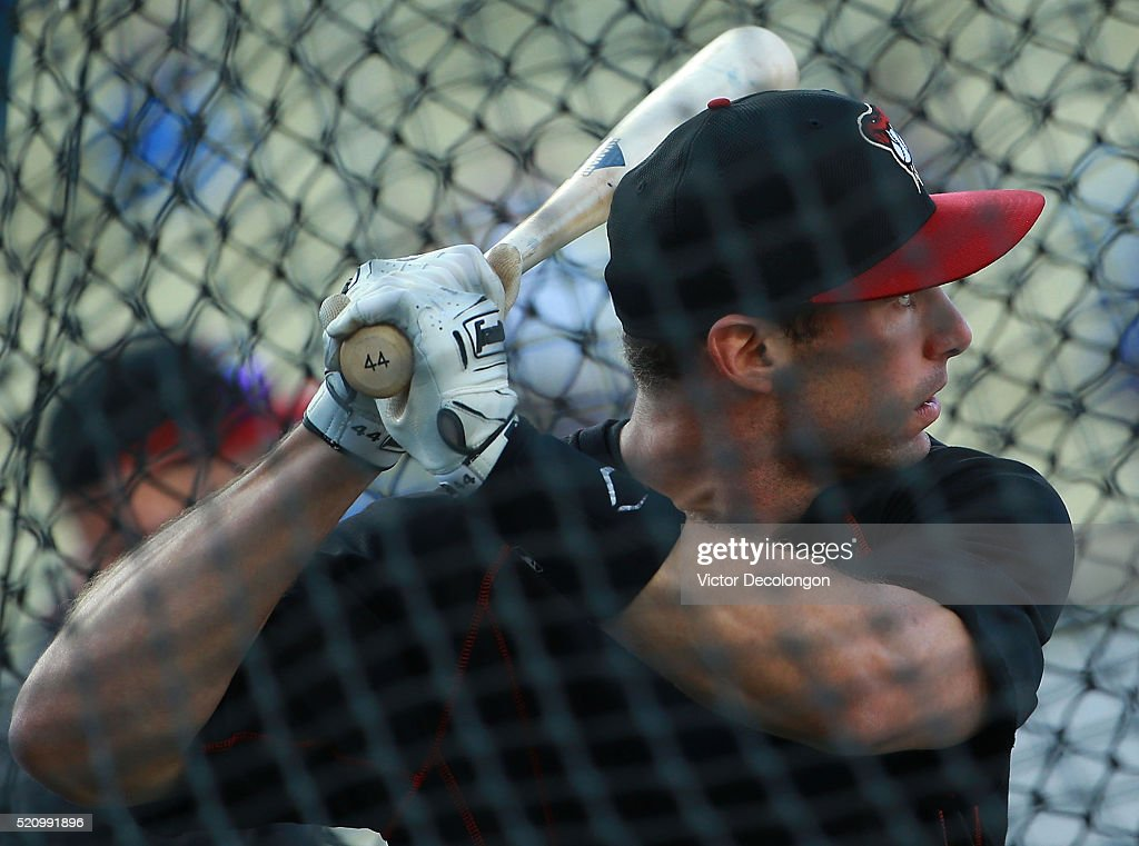 Paul Goldschmidt of the Arizona Diamondbacks takes batting practice prior to the MLB game against the Los Angeles Dodgers at Dodger Stadium on April...