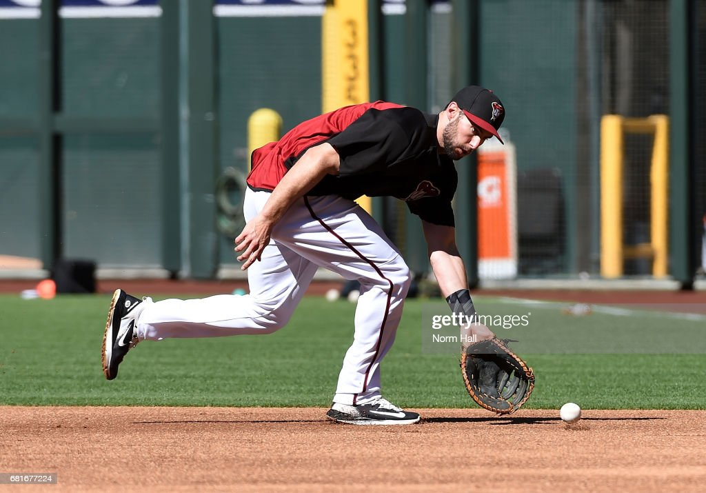 Paul Goldschmidt #44 of the Arizona Diamondbacks takes gound balls prior to a game against the Detroit Tigers at Chase Field on May 10, 2017 in Phoenix, Arizona.