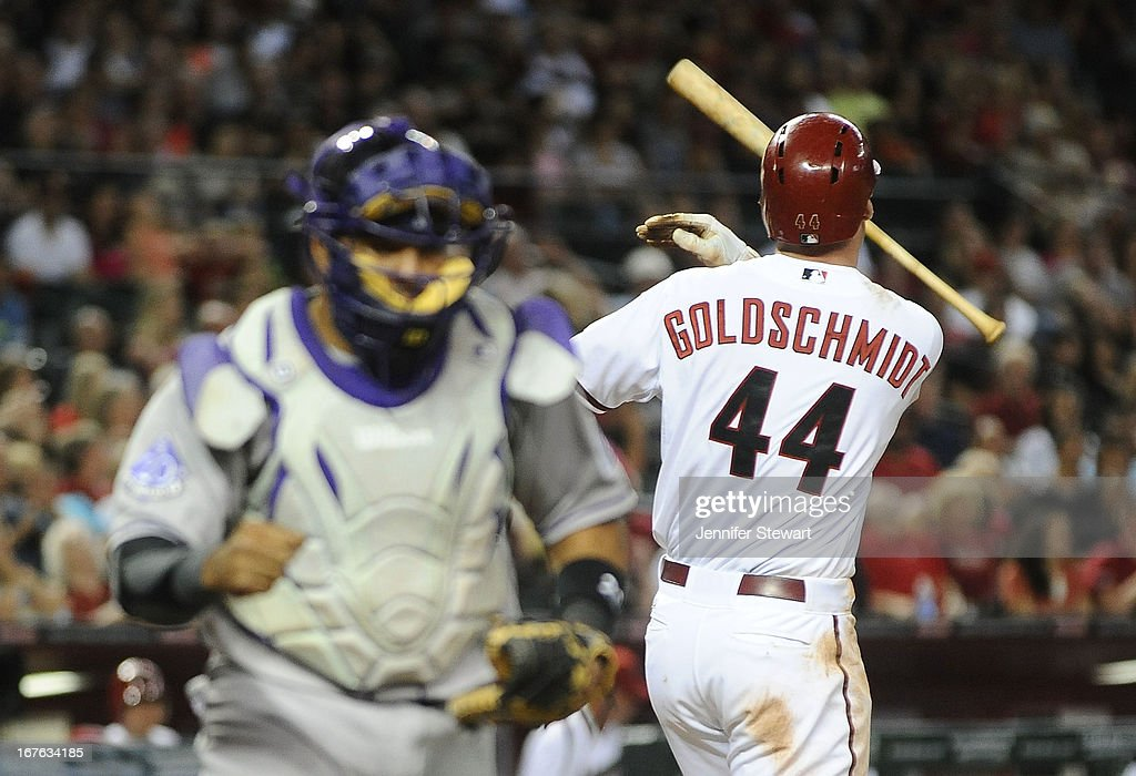 <a gi-track='captionPersonalityLinkClicked' href=/galleries/search?phrase=Paul+Goldschmidt&family=editorial&specificpeople=7511120 ng-click='$event.stopPropagation()'>Paul Goldschmidt</a> #44 of the Arizona Diamondbacks throws his bat after striking out against the Colorado Rockies in the seventh inning at Chase Field on April 26, 2013 in Phoenix, Arizona. The Rockies defeated the Diamondbacks 6-3.