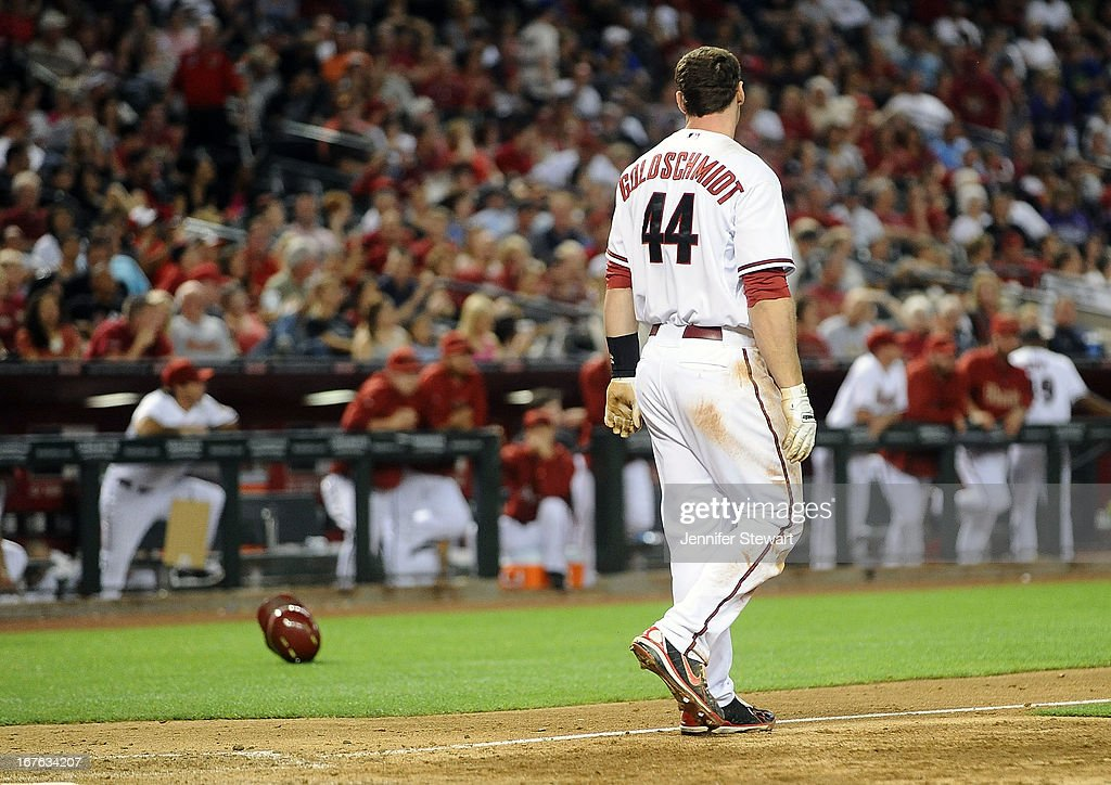 <a gi-track='captionPersonalityLinkClicked' href=/galleries/search?phrase=Paul+Goldschmidt&family=editorial&specificpeople=7511120 ng-click='$event.stopPropagation()'>Paul Goldschmidt</a> #44 of the Arizona Diamondbacks throws his helmet after striking out against the Colorado Rockies in the seventh inning at Chase Field on April 26, 2013 in Phoenix, Arizona. The Rockies defeated the Diamondbacks 6-3.