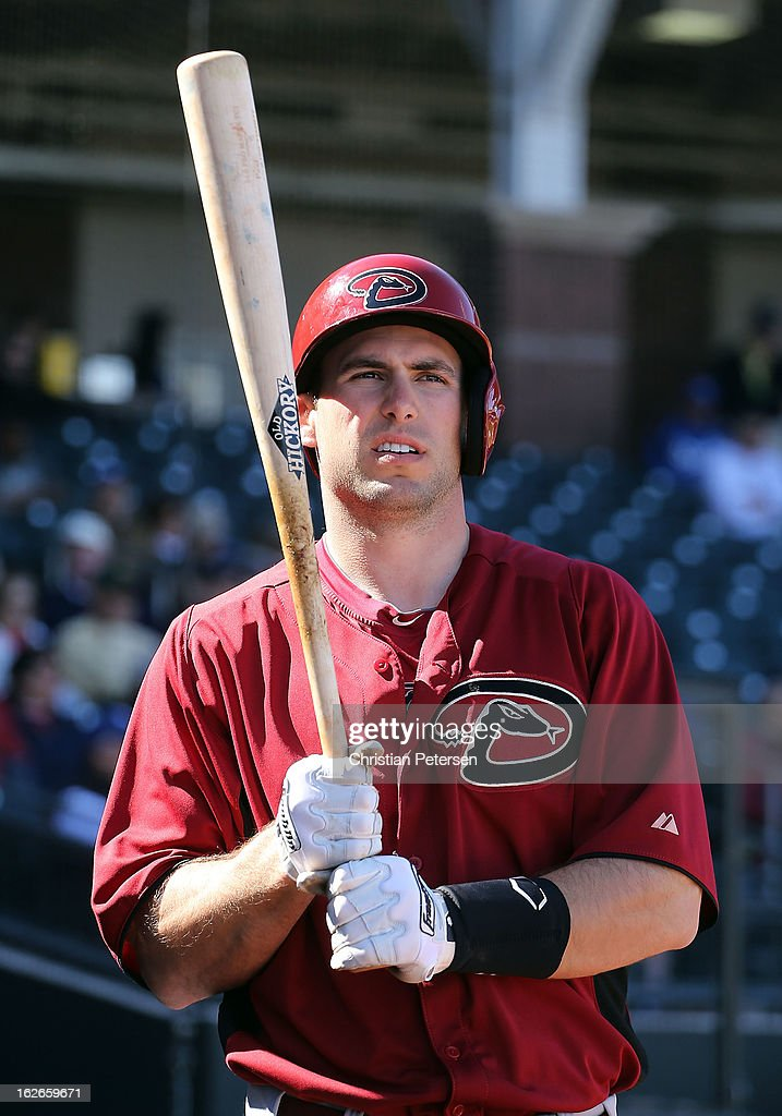 <a gi-track='captionPersonalityLinkClicked' href=/galleries/search?phrase=Paul+Goldschmidt&family=editorial&specificpeople=7511120 ng-click='$event.stopPropagation()'>Paul Goldschmidt</a> #44 of the Arizona Diamondbacks warms up on deck during the spring training game against the Kansas City Royals at Surprise Stadium on February 25, 2013 in Surprise, Arizona.