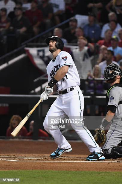 Paul Goldschmidt of the Arizona Diamondbacks watches hits a three run home run during the bottom of the first inning of the National League Wild Card...