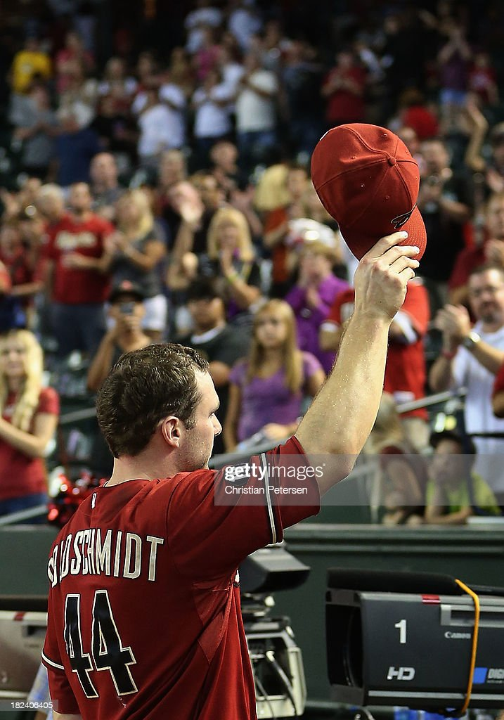 <a gi-track='captionPersonalityLinkClicked' href=/galleries/search?phrase=Paul+Goldschmidt&family=editorial&specificpeople=7511120 ng-click='$event.stopPropagation()'>Paul Goldschmidt</a> #44 of the Arizona Diamondbacks waves to the fans as he walks off the field following the MLB game against the Washington Nationals at Chase Field on September 29, 2013 in Phoenix, Arizona. The Diamondbacks defeated the Nationals 3-2.