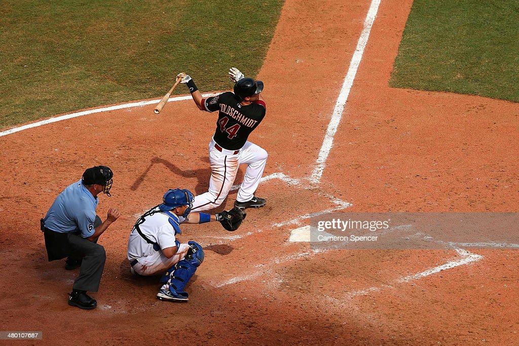 Paul Goldschmidt of the Diamondbacks bats during the MLB match between the Los Angeles Dodgers and the Arizona Diamondbacks at Sydney Cricket Ground...
