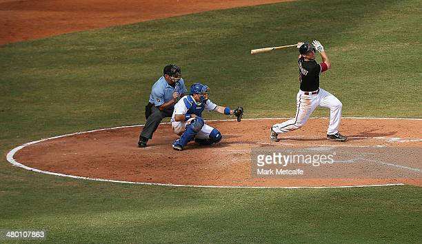 Paul Goldschmidt of the Diamondbacks bats during the MLB match between the Los Angeles Dodgers and the Arizona Diamondbacks at Sydney Cricket Ground...