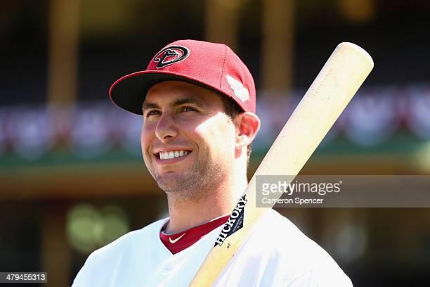 Paul Goldschmidt of the Diamondbacks looks on during an Arizona Diamondbacks MLB training session at Sydney Cricket Ground on March 19 2014 in Sydney...