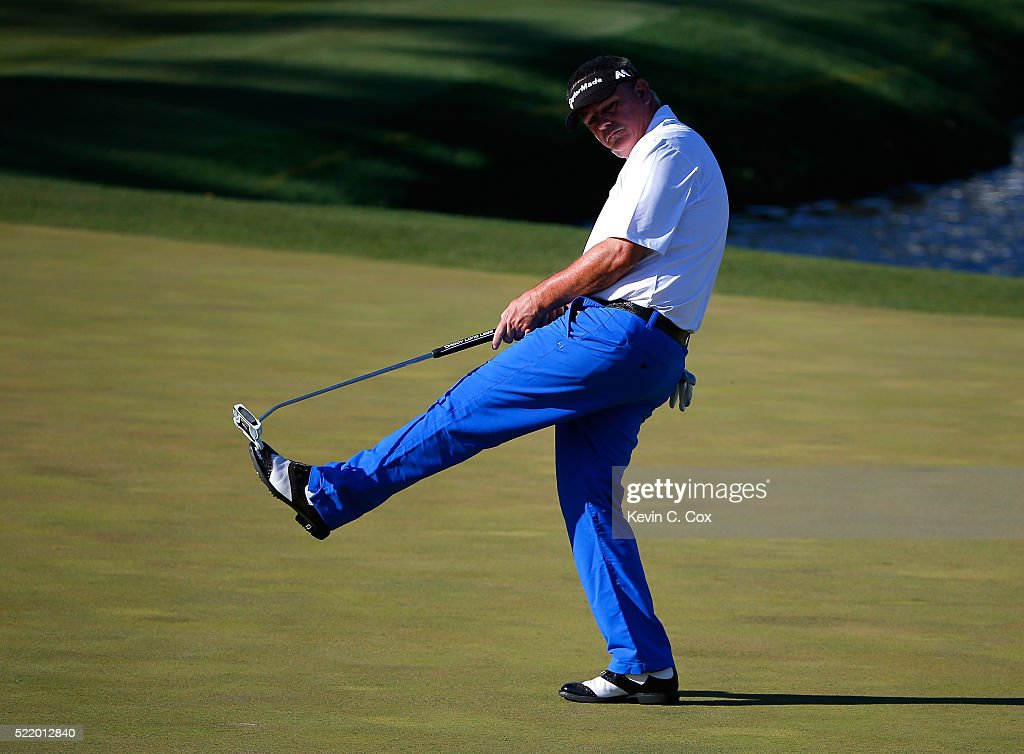 Paul Goydos reacts after missing his birdie putt on the 18th green during the final round of the Mitsubishi Electric Classic at TPC Sugarloaf on...
