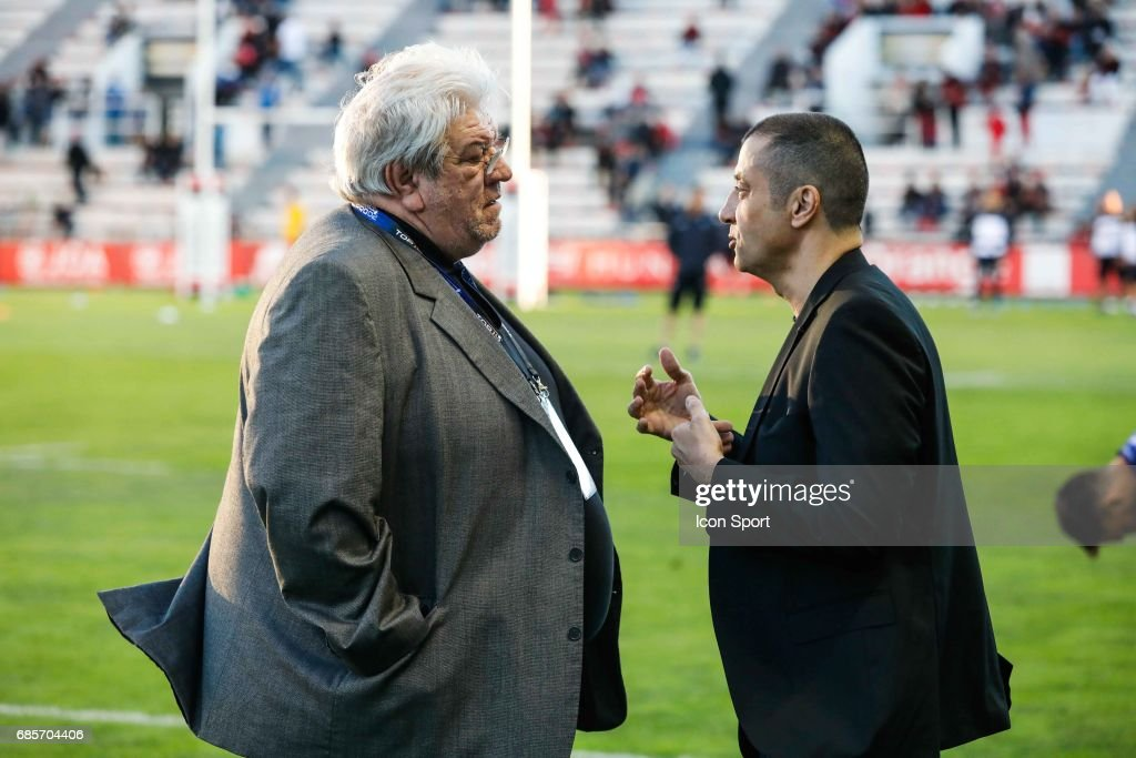 Paul Goze president of LNR Mourad Boudjellal president of Toulon during the Top 14 match between RC Toulon and Castres Olympiques on May 19, 2017 in Toulon, France.