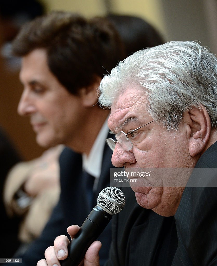 Paul Goze speaks during a press confrence on November 16, 2012 in Paris after being elected head of the French national rugby league (LNR), which oversees the professional 15-a-side game in France. Goze, 61, received a four-year mandate as head of the body that manages the Top 14 and Pro D2 divisions, succeeding Pierre-Yves Revol, who was elected in 2008 to take over from former France full-back Serge Blanco (1998-2008).