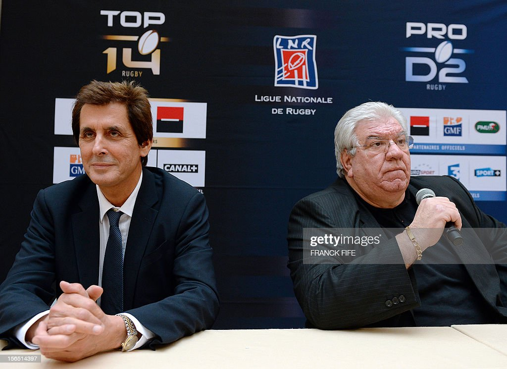 Paul Goze (R) speaks next to the Stade Francais rugby team former president Max Guazzini (L) during a press confrence on November 16, 2012 in Paris after being elected head of the French national rugby league (LNR), which oversees the professional 15-a-side game in France. Goze, 61, received a four-year mandate as head of the body that manages the Top 14 and Pro D2 divisions, succeeding Pierre-Yves Revol, who was elected in 2008 to take over from former France full-back Serge Blanco (1998-2008).