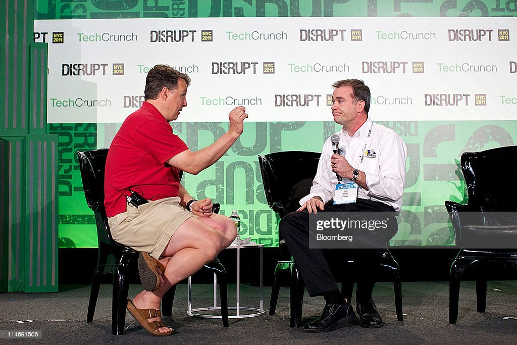 Paul Graham, founder of Y Combinator, left, speaks during an interview with Jody Presti from VidAppy at the TechCrunch Disrupt NYC 2011 conference in New York, U.S., on Wednesday, May 25, 2011. The summit brings together leaders from various tech fields to discuss how the internet is disrupting industry after industry, from media and social commerce to payments and transportation. Photographer: Guy Calaf/Bloomberg via Getty Images