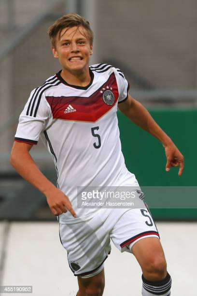Paul Grauschopf of Germany celebrates scoring the second team goal during the KOMM MIT tournament match between U17 Germany and U17 Netherlands at...