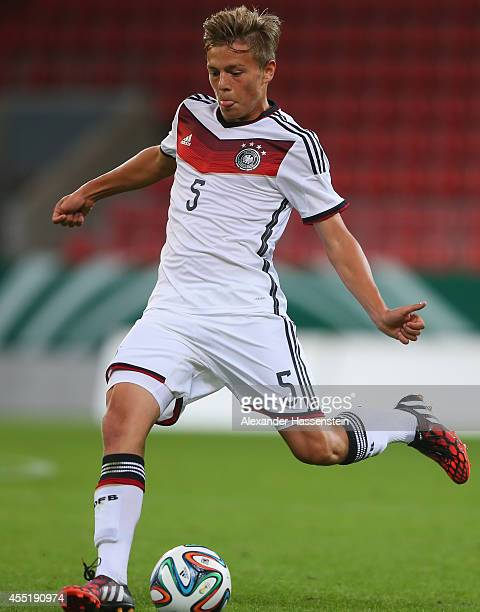 Paul Grauschopf of Germany runs with the ball during the KOMM MIT tournament match between U17 Germany and U17 Netherlands at Audi Sportpark on...