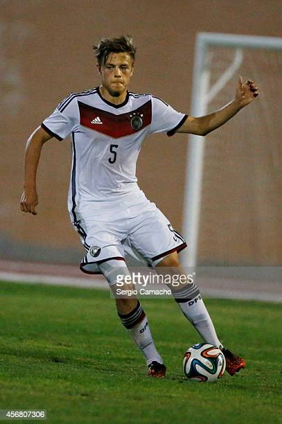 Paul Grauschopfof Germany controls the ball during the international friendly match between U17 Spain and U17 Germany at Campo Municipal de Nerja on...