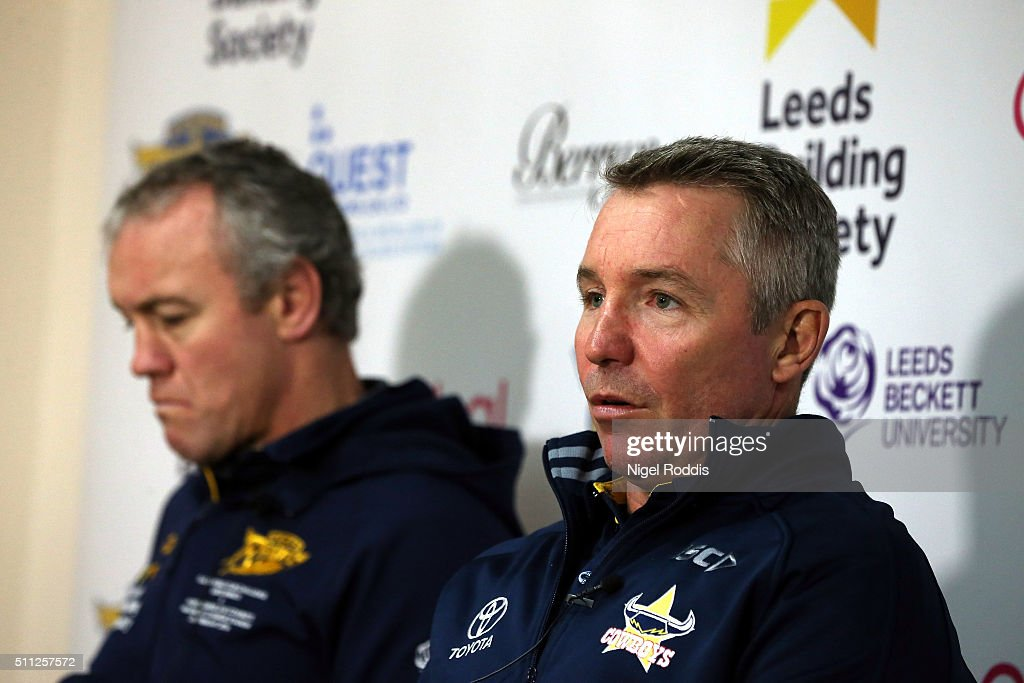 Paul Green (R) head coach of North Queensland Cowboys and Brian McDermott Head coach oif Leeds Rhinos during a press conference at Headingley Carnegie Stadium on February 19, 2016 in Leeds, England. North Queensland Cowboys play Leeds Rhinos in the World Club Challenge on sunday at Headingley Stadium in Leeds
