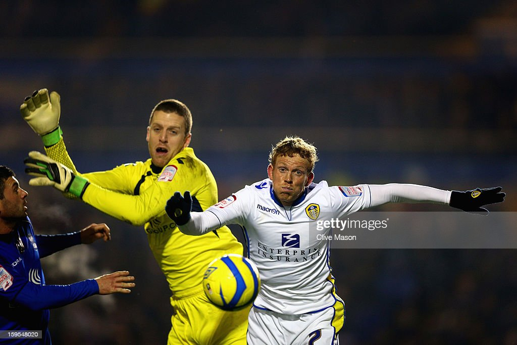 Paul Green of Leeds United competes for the ball with Colin Doyle of Birmingham City during the FA Cup with Budweiser Third Round Replay match between Birmingham City and Leeds United at St Andrews on January 15, 2013 in Birmingham, England.