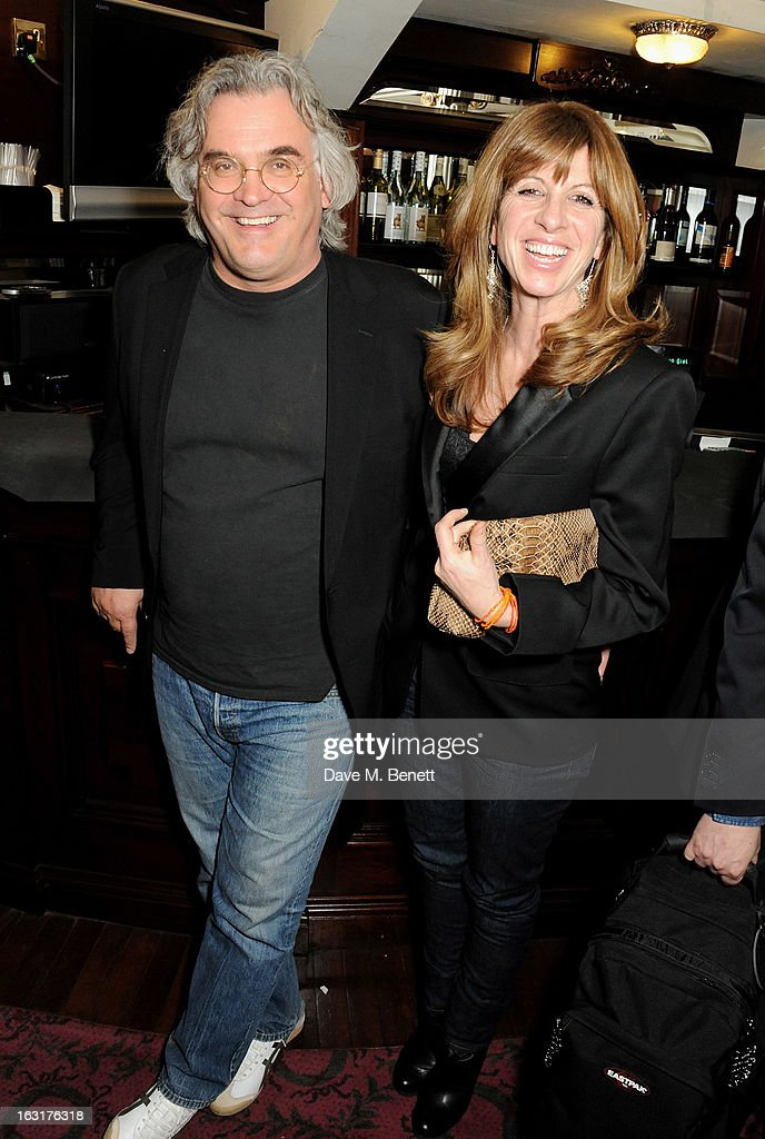 Paul Greengrass (L) and Joanna Kaye pose in the foyer following the press night performance of 'The Audience' at the Gielgud Theatre on March 5, 2013 in London, England.